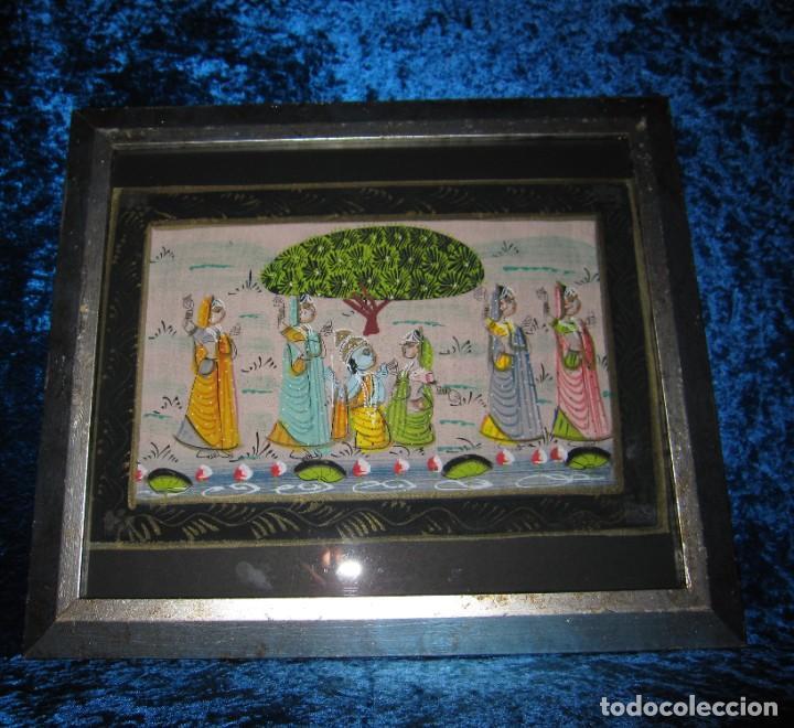 Arte: Cuadro marco plateado pintura hindú India sobre seda - Foto 11 - 216452965