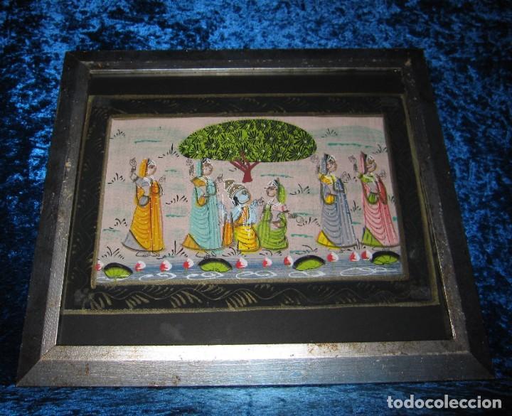 Arte: Cuadro marco plateado pintura hindú India sobre seda - Foto 12 - 216452965