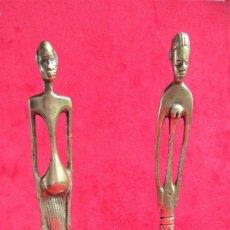 Art: PAREJA DE FIGURAS ÉTNICAS AFRICANAS EN BRONCE MACIZO, PIEZAS DE COLECCIÓN. Lote 216510568