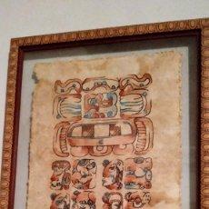 Arte: DIBUJO TIPO AZTECA SOBRE SOPORTE VEGETAL. MÉXICO.. Lote 216726073