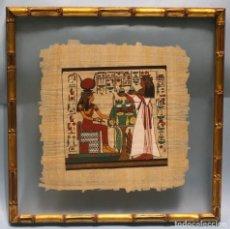 Arte: PAPIRO CON PINTURA DE LA DIOSA EGIPCIA HATHOR.. Lote 216830752