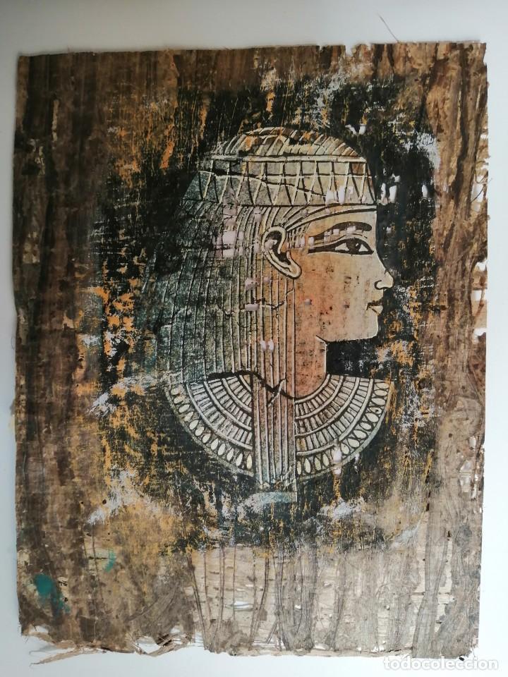 Arte: tres papiros traidos de egipto comprados en giza en el año 1988 con carpeta original de la tienda - Foto 6 - 169038316