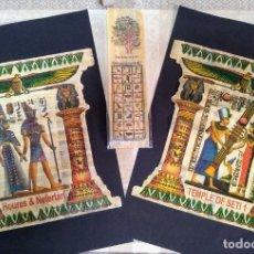 Arte: ANTIGUO E INTERESANTE LOTE DE 2 PAPIROS DE EGIPTO Y MARCAPAGINAS PAPIRO CON ALFABETO EGIPCIO. Lote 219360581
