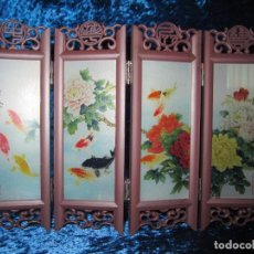 Arte: BIOMBO CHINO ORIENTAL MINIATURA VIDRIO CRISTAL. Lote 219908487