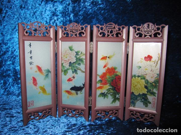 Arte: Biombo chino oriental miniatura vidrio cristal - Foto 8 - 219908487