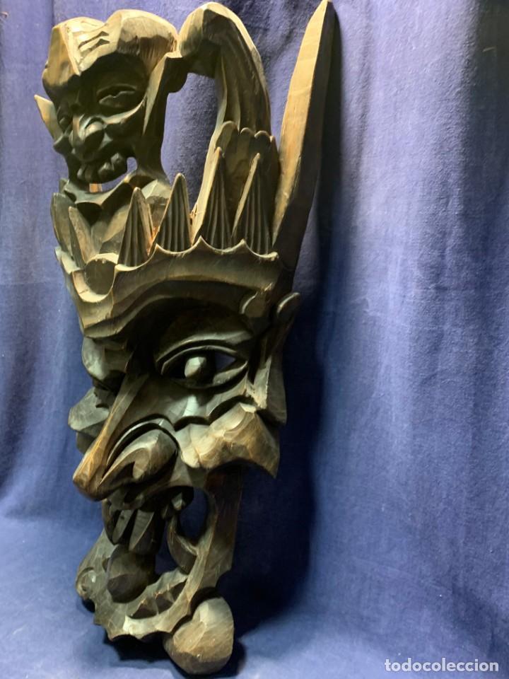 Arte: gran mascara china de madera tallada guizhou beijing 65x32x18cms - Foto 4 - 220522300