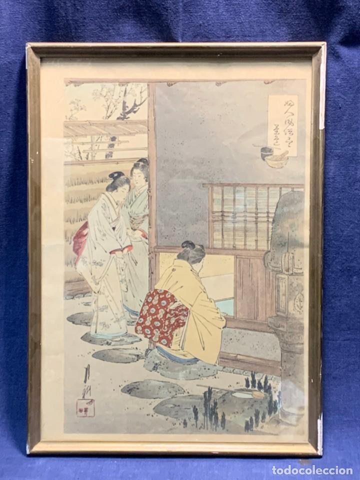 GRABADO JAPONES UKIYO E DELICADA ESCENA VIDA COTIDIANA GEISHAS KIMONO JAPON PPIO S XX 37,5X27CMS (Arte - Étnico - Asia)
