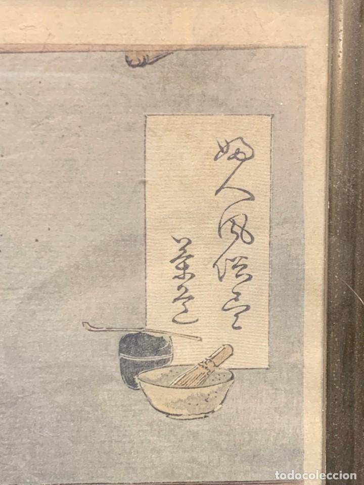 Arte: GRABADO JAPONES UKIYO E DELICADA ESCENA VIDA COTIDIANA GEISHAS KIMONO JAPON PPIO S XX 37,5X27CMS - Foto 5 - 220552655