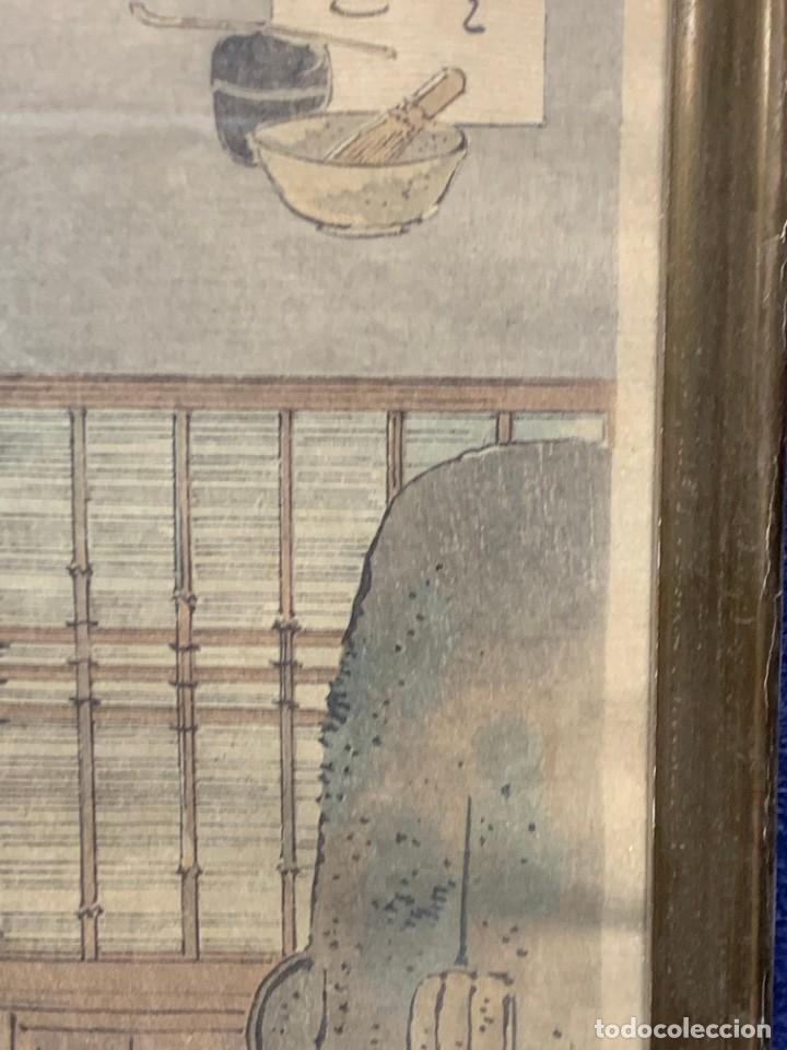 Arte: GRABADO JAPONES UKIYO E DELICADA ESCENA VIDA COTIDIANA GEISHAS KIMONO JAPON PPIO S XX 37,5X27CMS - Foto 6 - 220552655
