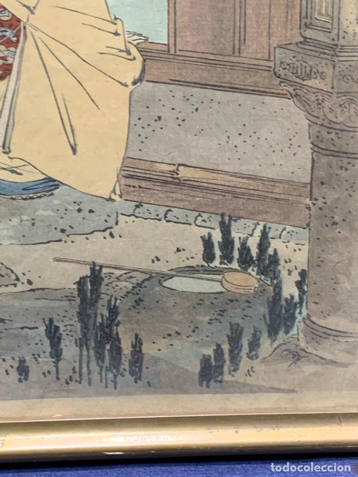 Arte: GRABADO JAPONES UKIYO E DELICADA ESCENA VIDA COTIDIANA GEISHAS KIMONO JAPON PPIO S XX 37,5X27CMS - Foto 9 - 220552655