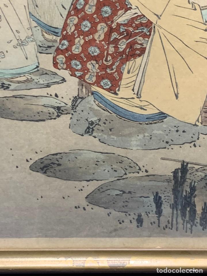 Arte: GRABADO JAPONES UKIYO E DELICADA ESCENA VIDA COTIDIANA GEISHAS KIMONO JAPON PPIO S XX 37,5X27CMS - Foto 10 - 220552655