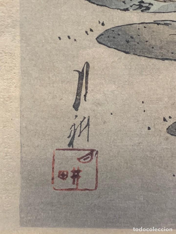 Arte: GRABADO JAPONES UKIYO E DELICADA ESCENA VIDA COTIDIANA GEISHAS KIMONO JAPON PPIO S XX 37,5X27CMS - Foto 12 - 220552655