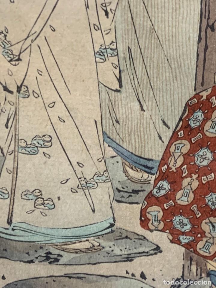 Arte: GRABADO JAPONES UKIYO E DELICADA ESCENA VIDA COTIDIANA GEISHAS KIMONO JAPON PPIO S XX 37,5X27CMS - Foto 13 - 220552655