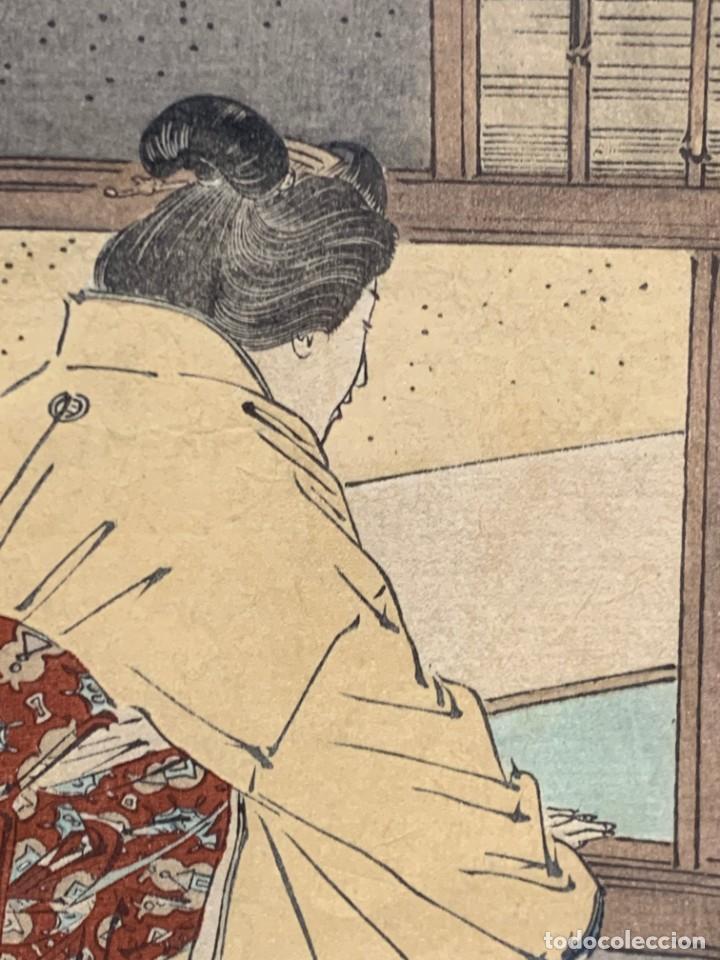 Arte: GRABADO JAPONES UKIYO E DELICADA ESCENA VIDA COTIDIANA GEISHAS KIMONO JAPON PPIO S XX 37,5X27CMS - Foto 16 - 220552655