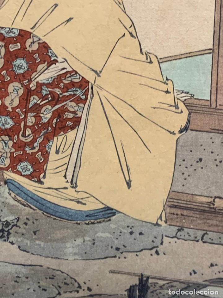 Arte: GRABADO JAPONES UKIYO E DELICADA ESCENA VIDA COTIDIANA GEISHAS KIMONO JAPON PPIO S XX 37,5X27CMS - Foto 17 - 220552655
