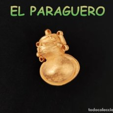 Art: VALE PARA COLGANTE COLGANTE SONAJERO PRECOLOMBINO QUIMBAYA DE ORO TUMBAGA PESO 18 GRAMOS-T5. Lote 220697477
