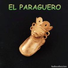 Art: VALE PARA COLGANTE RARA FIGURA SONAJERO PRECOLOMBINO QUIMBAYA DE ORO TUMBAGA PESO 21 GRAMOS-T7. Lote 220698343