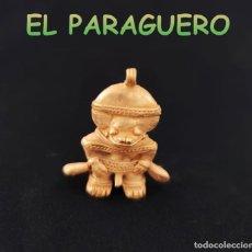 Art: VALE PARA COLGANTE FIGURA CHAMAN ZOOMORFICO PRECOLOMBINO QUIMBAYA DE ORO TUMBAGA PESO 16 GRAMOS-T11. Lote 220699550
