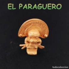 Art: VALE PARA COLGANTE FIGURA CHAMAN ANTROPOMORF PRECOLOMBINO QUIMBAYA DE ORO TUMBAGA PESO 21 GRAMOS-T16. Lote 220701158