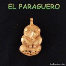 Art: VALE PARA COLGANTE FIGURA PAJARO TIMBIQUI PRECOLOMBINO QUIMBAYA DE ORO TUMBAGA PESO 18 GRAMOS-T17. Lote 220701782