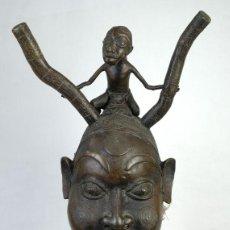 Arte: CABEZA AFRICANA EN BRONCE SIGLO XX. Lote 221157220