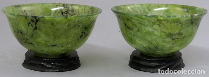 Arte: Pareja de cuencos de jade jaspeado verde espinaca de bordes curvos Dinastía Qing China hacia 1800 - Foto 2 - 221259762