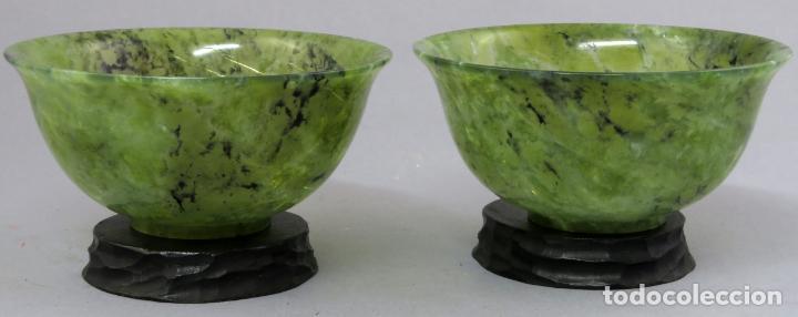 Arte: Pareja de cuencos de jade jaspeado verde espinaca de bordes curvos Dinastía Qing China hacia 1800 - Foto 3 - 221259762