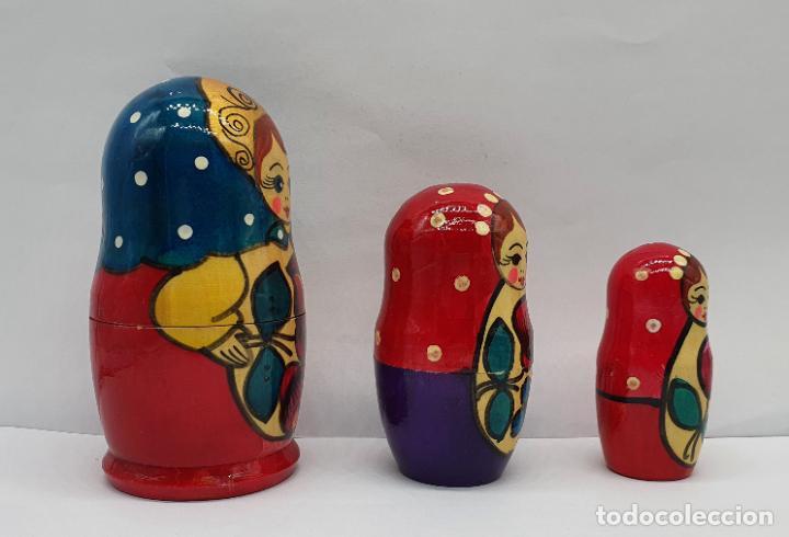 Arte: Original juego de muñecas antiguas Rusas Matrioskas en madera pintadas a mano . - Foto 4 - 221468107