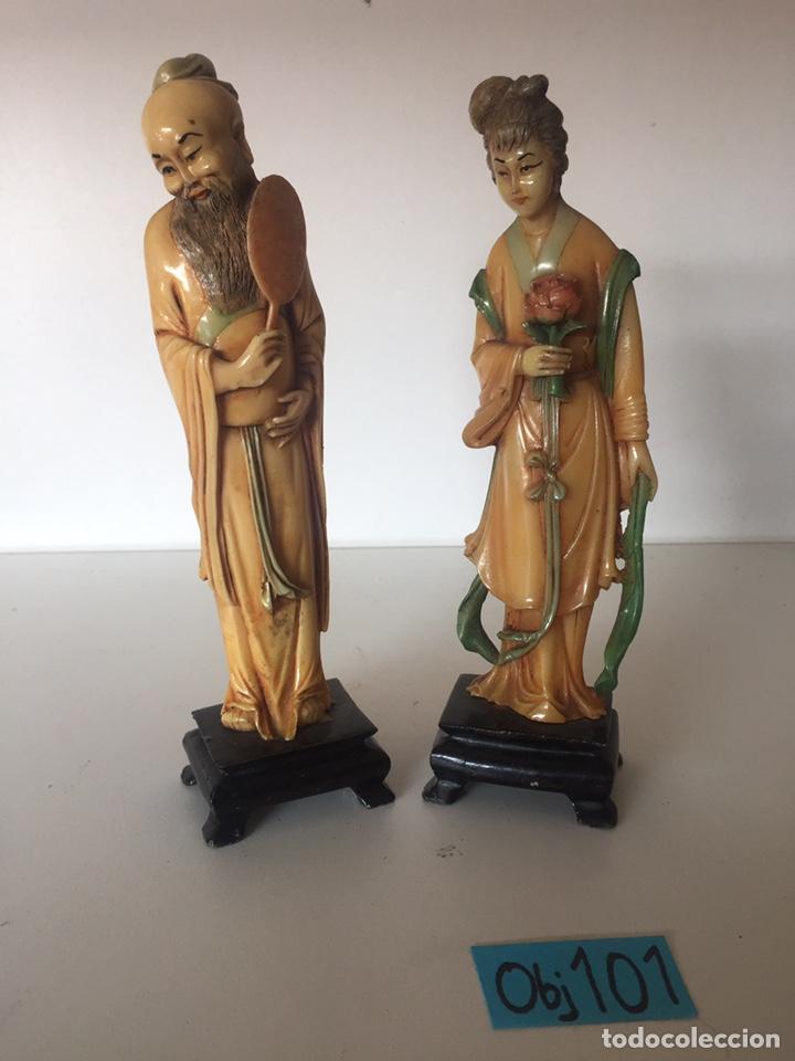 ANTIGUA FIGURAS ORIENTALES ASIÁTICAS (Arte - Étnico - Asia)