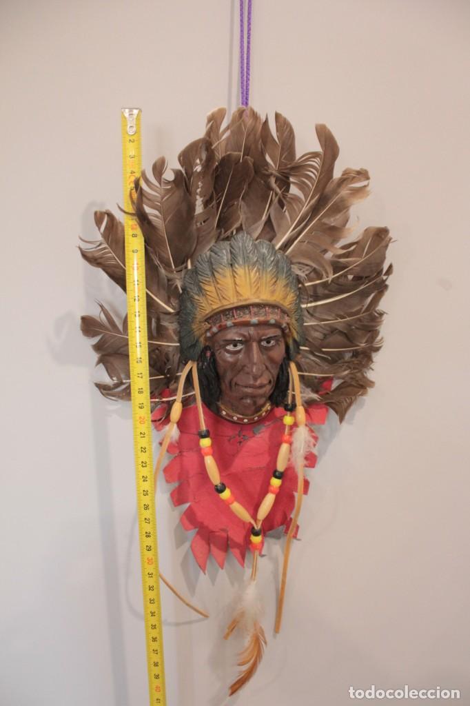 Arte: INDIO PARA COLGAR EN LA PARED EN PIEL, PLASTICO Y PLUMAS NATURALES - Foto 5 - 222123557