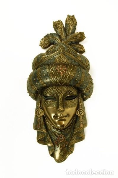 MÁSCARA VENECIANA ÁRABE. METALIZADA. 30X15X5CM (Arte - Étnico - Europa)