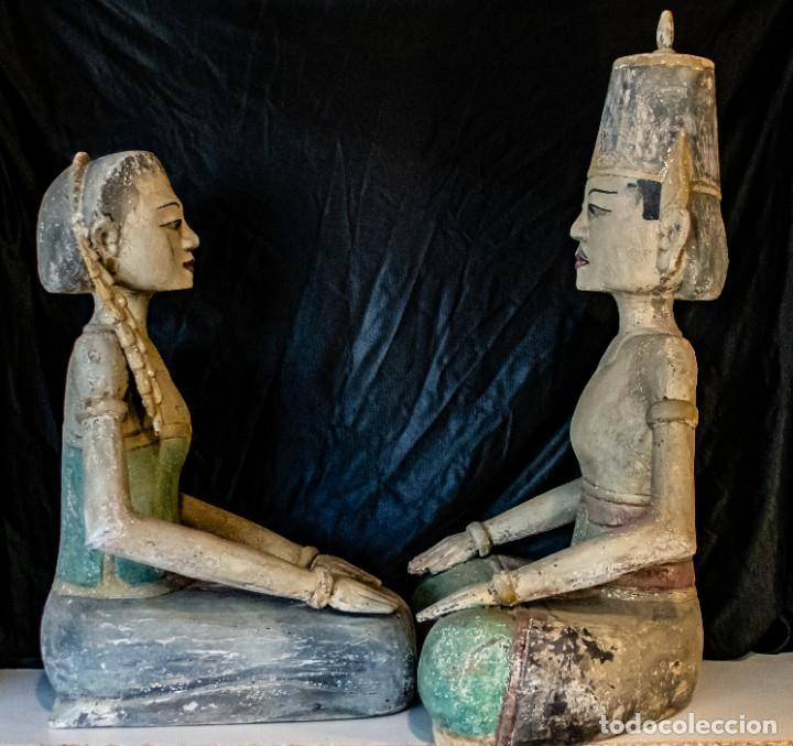 PAREJA LORO BLONYO DE ISLA DE JAVA,VINTAGE (Arte - Étnico - Asia)