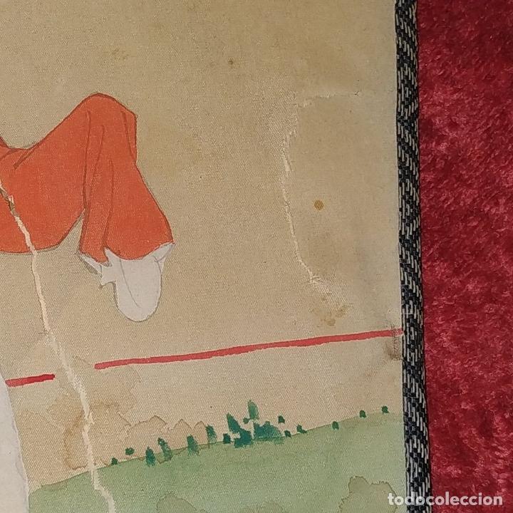 Arte: 3 ANTIGUOS PAY-PAY CHINOS. EN SEDA PINTADA Y MADERA. CHINA. SIGLO XIX-XX - Foto 3 - 222561667