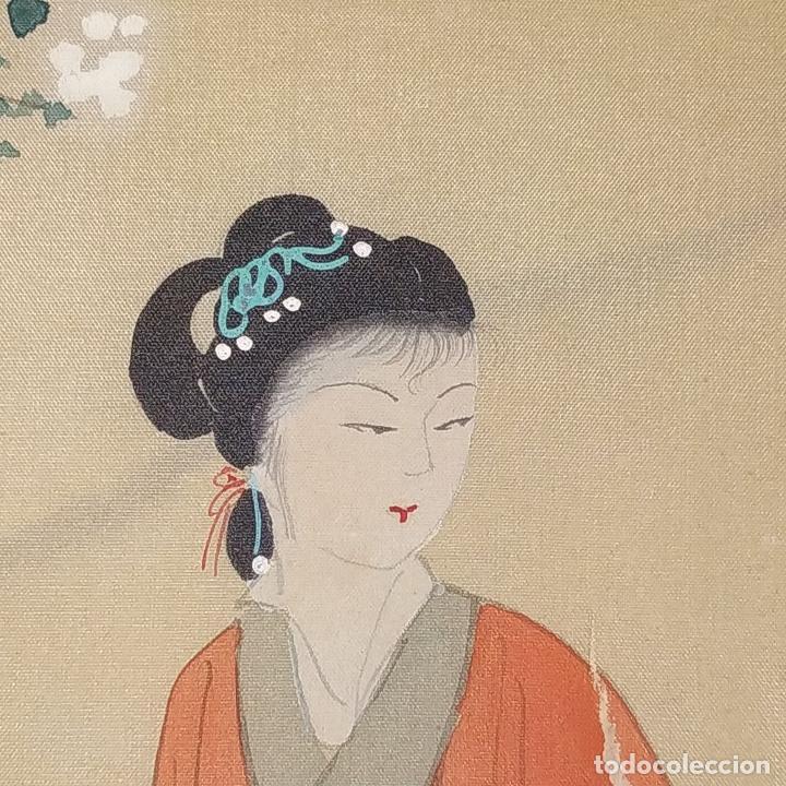 Arte: 3 ANTIGUOS PAY-PAY CHINOS. EN SEDA PINTADA Y MADERA. CHINA. SIGLO XIX-XX - Foto 4 - 222561667