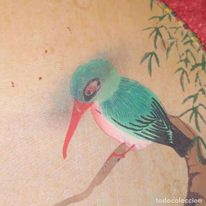 Arte: 3 ANTIGUOS PAY-PAY CHINOS. EN SEDA PINTADA Y MADERA. CHINA. SIGLO XIX-XX - Foto 6 - 222561667