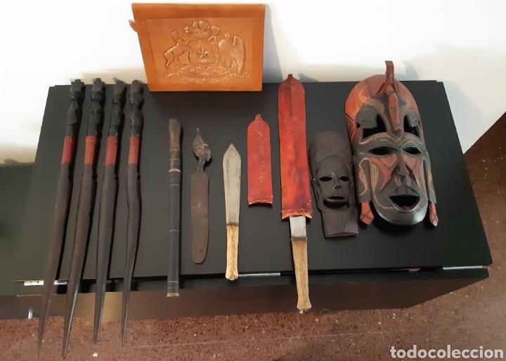 FIGURAS DE MADERA ÉBANO DE KENIA. TALLADAS A MANO EN 1989. (Arte - Étnico - África)