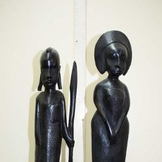 Arte: PAREJA DE ESCULTURAS AFRICANAS MADERA TALLADA. Lote 222736276