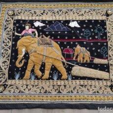 Arte: TAPIZ ELEFANTES ANTIGUO INDIA. Lote 222935851