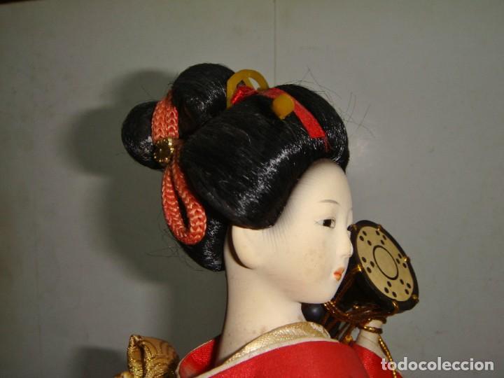 Arte: Antigua Muñeca Geisha. Cuerpo en Pasta de Ostras y Ojos en Cascaras de Vidrio. 31 cm de Altura. - Foto 8 - 45638830