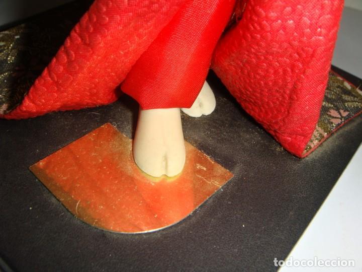 Arte: Antigua Muñeca Geisha. Cuerpo en Pasta de Ostras y Ojos en Cascaras de Vidrio. 31 cm de Altura. - Foto 11 - 45638830