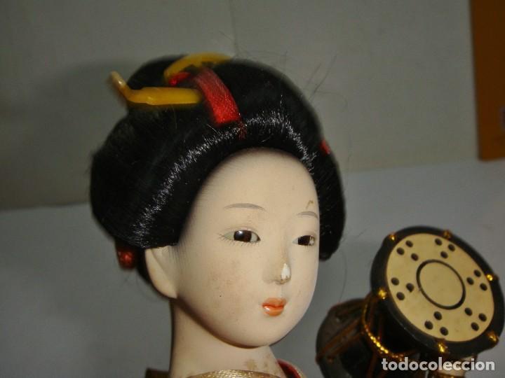 Arte: Antigua Muñeca Geisha. Cuerpo en Pasta de Ostras y Ojos en Cascaras de Vidrio. 31 cm de Altura. - Foto 15 - 45638830