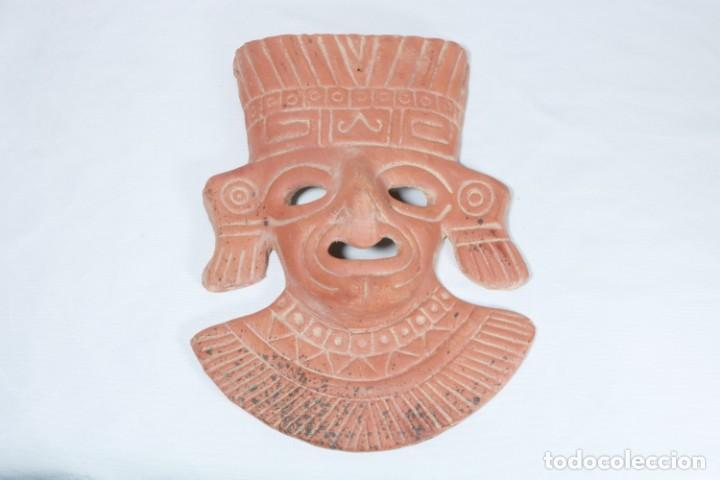 MÁSCARA MAYA EN ARCILLA - PIEZA NUMERADA 77/154 - HECHO A MANO Y ORIGINAL (Arte - Étnico - América)