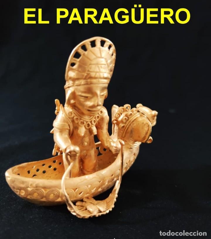 FIGURA DE INDIA PESCANDO DESNUDA EN SU BARCA PRECOLOMBINA QUIMBAYA DE ORO TUMBAGA PESO 122 GRAMOS-B2 (Arte - Étnico - América)