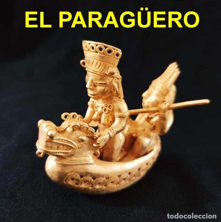 FIGURA DE INDIO Y INDIA PASEANDO EN SU BARCA PRECOLOMBINA QUIMBAYA DE ORO TUMBAGA PESO 162 GRAMOS-B4 (Arte - Étnico - América)