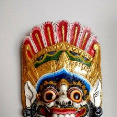 Arte: IMPRESIONANTE MASCARA BALINESA.TAILANDIA. MADERA TALLADA EN UNA PIEZA Y POLICROMADA. AÑOS 70. Lote 224872473