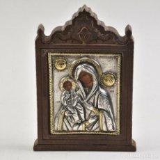 Art: ICONO DE MARÍA Y JESUCRISTO CON OKLAD DE PLATA 925. Lote 225936578