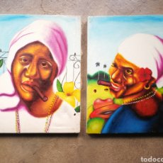 Arte: PAREJA ÓLEOS SOBRE LIENZO PINTURA CUBANA, 30X25CM.. Lote 226430905