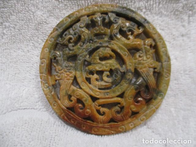 PRECIOSO AMULETO CHINO TALLADO A DOS CARAS EN PIEDRA JADE (Arte - Étnico - Asia)