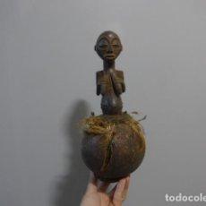 Arte: ANTIGUA ESCULTURA FETICHE FIGURA DE MADERA TALLADA AFRICANA, ORIGINAL, DE TRIBU LUBA DEL CONGO. Lote 228479245