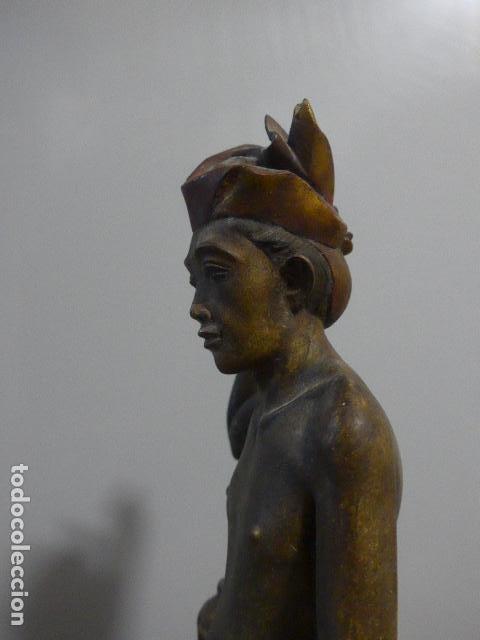Arte: Antigua escultura de madera tallada asiatica, un pescador, original. - Foto 8 - 228480805